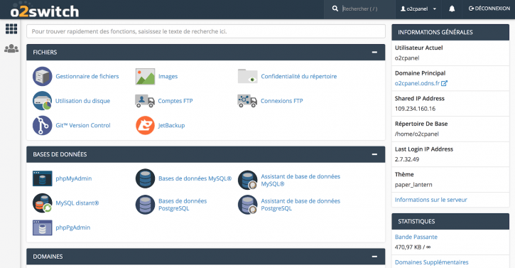 l'interface cPanel de o2switch