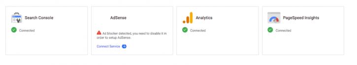 Services Google à connecter au plugin Google Site Kit