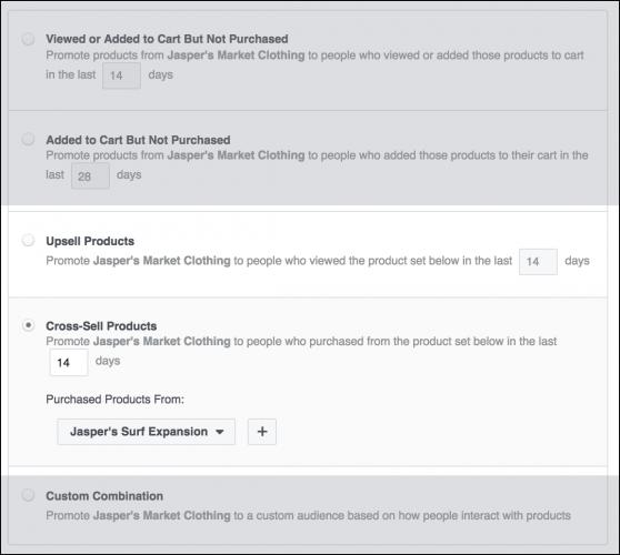 configurer une campagne de cross-sell ou d'upsell avec Facebook ADS