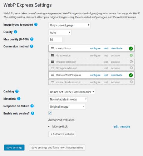 Paramètres du plugin WebP Express