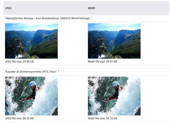 comparaison entre une image JPEG et une image WebP